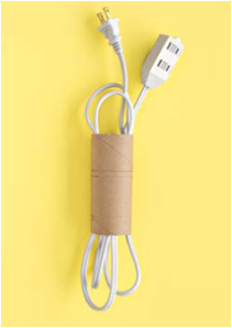No more tangled wires! What a great idea for used toilet paper holders!